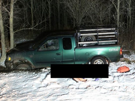 Shawn Igers' pickup truck is shown at the site of his
