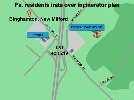 A  map  of the incinerator location.