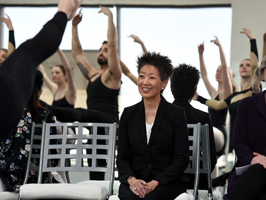 Jane Chu, the national director of the National Endowment for the Arts, watches Sierra Nevada Ballet dancers during her visit to the school in Reno on Wednesday morning, March 9, 2017.