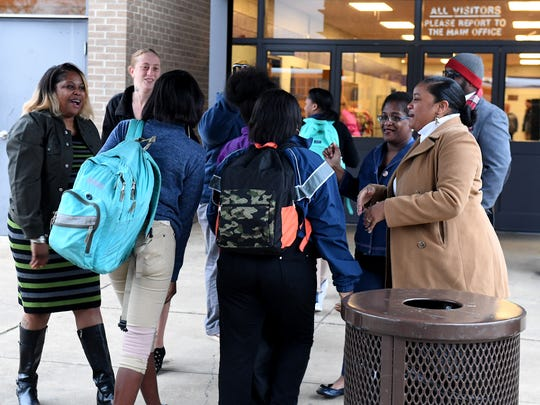 Haywood High School parents welcome students back to school, Wednesday morning to show their support after the student-lead protests, Monday and Tuesday.