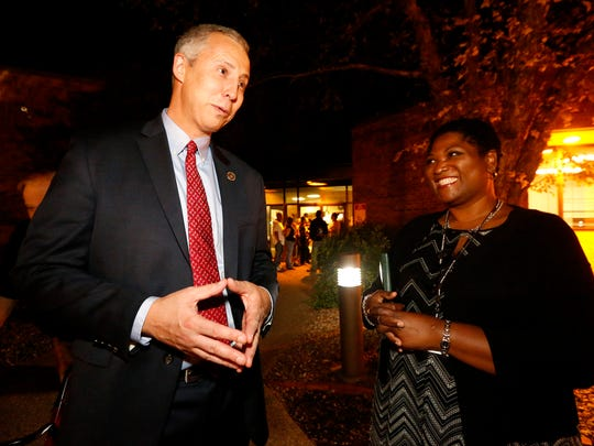 Jeff Bloedorn, the HR manager for UPS, left,  and Lottye Covington, UPS Recruiter, right, talk after La VergneÕs monthly Mayor and Aldermen meeting, on Tuesday, Oct. 3, 2017, where Bloedorn spoke about UPS bringing 500 job to the area.