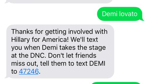 "The auto-reply for when fans text ""DEMI"" or ""Demi Lovato"""