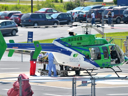 Multiple people were taken to Aspirus Wausau Hospital following a crash that killed one and injured nine just before 10 a.m. Friday, Aug. 8, 2014, in the town of Easton. One was taken from Aspirus to Saint Joseph's Hospital in Marshfield.