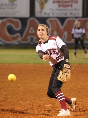 Tate's Savannah Rowell delivers a strikeout during at District 1-7A game at Escambia earlier this season.
