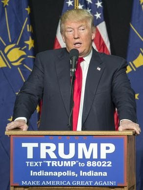 Donald Trump attends a rally in Indianapolis during his 2016 presidential primary campaign.