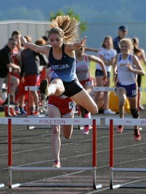 Adena's Rachael Foster is pictured competing in the 100-meter hurdles during this year's Scioto Valley Conference Track and Field Meet at Piketon High School.