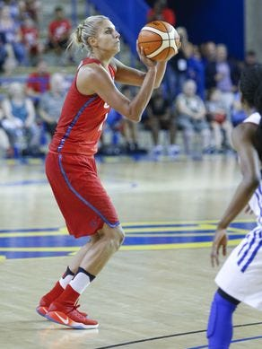 Elena Delle Donne takes a shot in last week's game against France at the Carpenter Center.