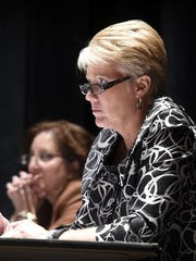 Palmyra Area School District superintendent Lisa Brown defends the district's Title IX compliance at a November school board meeting. Board member Ralph Duquette announced that he filed a Title IX complaint against the school district during the same meeting.