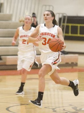 Brighton's Dana Schemanske (34) scored a game-high 15 points as  the Bulldogs defeated Pinckney on Tuesday night.