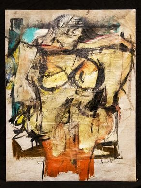 "This painting, ""Woman-Ochre"" by artist Wilem de Kooning was stolen from the university of Arizona Museum of Art in 1985, It was recovered from a Silver City antiques store this year."