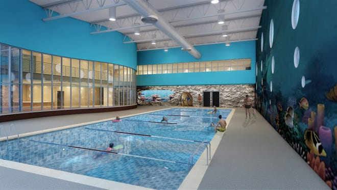 An artist's rendering of the interior of the children's aquatic center proposed for Taylor  Street.