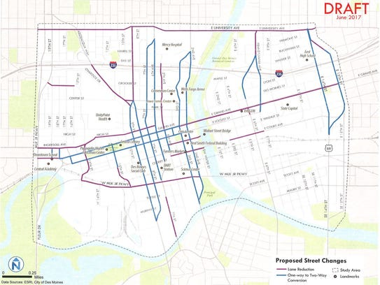 A draft plan shows what streets would be changed in