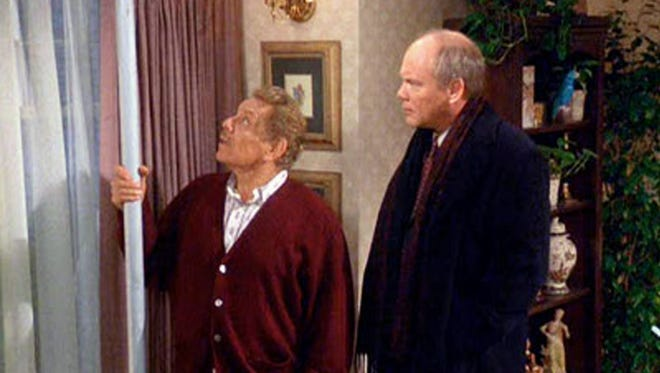 "Jerry Stiller (left, with Daniel von Bargen) explains the meaning of the Festivus pole, the holiday invented on the hit sitcom ""Seinfeld."""