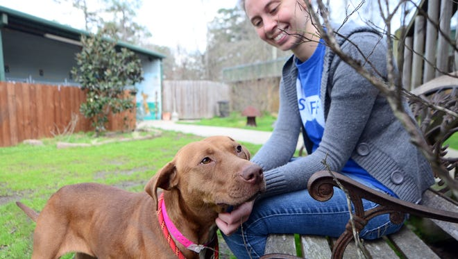 Southern Pines employee Dani Snell pets Corona outside of the kennels on Wednesday. The open-admission shelter has reached no-kill status, meaning no animal is turned away, and none are put down because of lack of space.