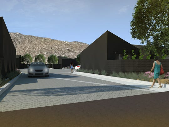 The entrance for the proposed Blackhaus Hotel project in Palm Springs.