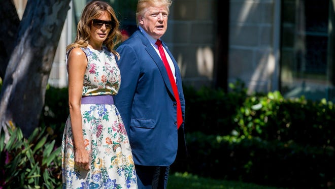 In April, President Donald Trump attends Easter services with First Lady Melania Trump at The Episcopal Church of Bethesda-by-the-Sea.