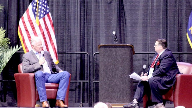 Kansas Republican Senate candidate Dave Lindstrom (left) is one of three Senate candidates that came to the Big First Republican Expo at the United Wireless Arena to talk about their campaigns with John Whitmer (right), Wichita KNSS radio host of the John Whitmer Show.