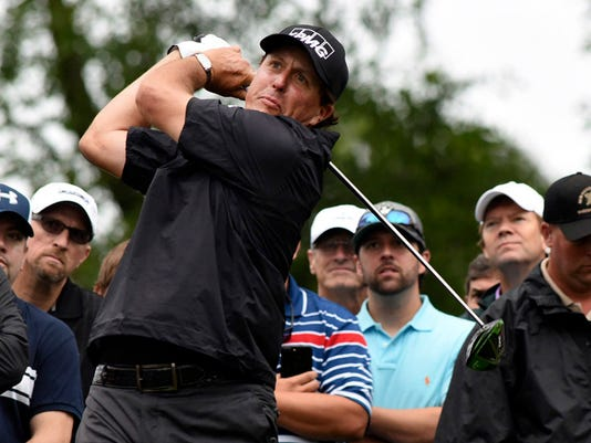 Phil Mickelson tees off of the 12th hole during the second round of the Wells Fargo Championship  golf tournament, Friday, May 5, 2017, in Wilmington, N.C. (Ken Blevins/The Star-News via AP)