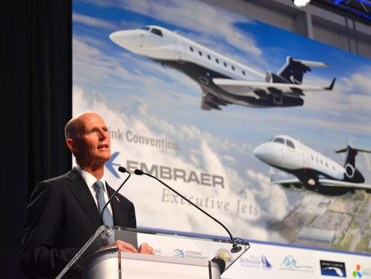 Gov. Rick Scott speaks at Orlando Melbourne International