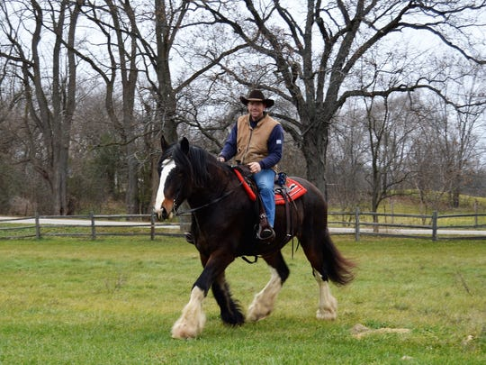 """SKMHTA member Chad Reichenberger and his horse """"Sampson"""""""