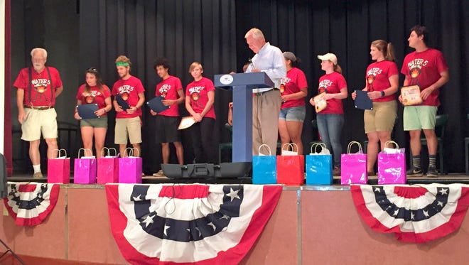 Ed Burckle, New Mexico Secretary of General Services spoke about the AmeriCorp group of students that rolled up their sleeves and did some historical preservation work in Fort Bayard over the past 13 weeks. The group also helped out several non-profit organizations while they were in Grant County. The group's last day working with the Village of Santa Clara and Fort Bayard was Thursday.