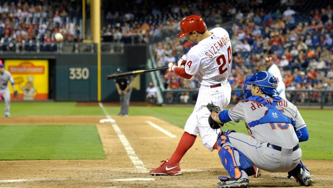 Philadelphia Phillies left fielder Grady Sizemore (24) hits a two-run double in the ninth inning Friday against the New York Mets at Citizens Bank Park. The Mets defeated the Phillies, 5-4. Credit: Eric Hartline-USA TODAY Sports
