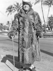 John Mann, wearing his raccoon coat in the 1950s.