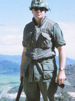 John Kenny in July 1970 at Vung Ro Bay (Deo Ca Pass) looking north into the valley leading to Tuy Hoa Air Base