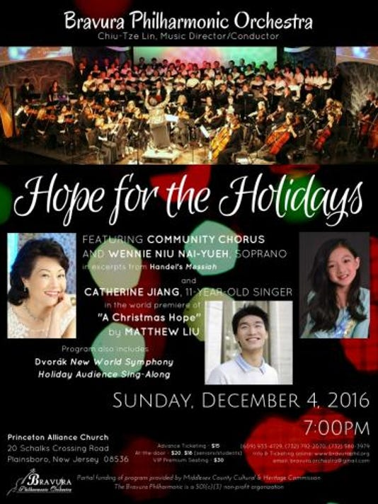 "Plainsboro: ""Hope for the Holidays"" - Bravura Philharmonic Orchestra's 2016 Holiday Concert on Dec. 4 PHOTO CAPTION"