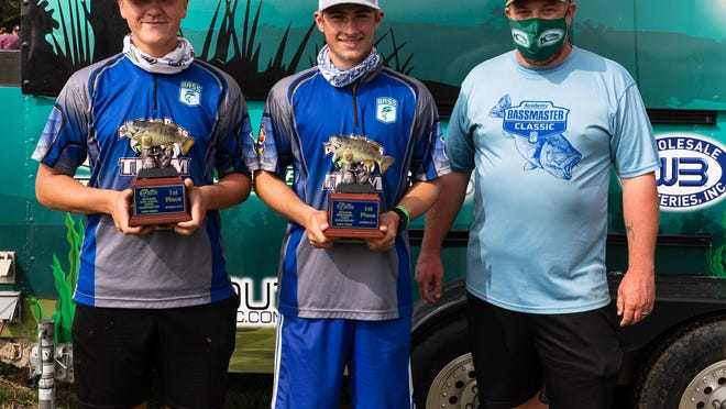 From left, De Soto's Collin Stephens and Dylan Nimrod took home the top prize during last weekend's Kansas BASS Nation High School State Championship on Bone Creek.
