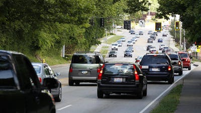 Heavy traffic along eastbound U.S. 50 leaving Mariemont