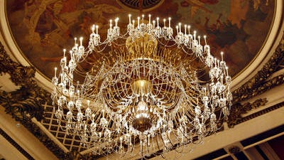 Music Hall's chandelier has 7,464 crystals
