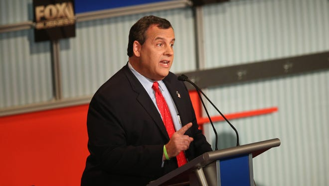 MILWAUKEE, WI - NOVEMBER 10:  Presidential candidate New Jersey Gov. Chris Christie speaks during the Republican Presidential Debate sponsored by Fox Business and the Wall Street Journal at the Milwaukee Theatre November 10, 2015 in Milwaukee, Wisconsin. The fourth Republican debate is held in two parts, one main debate for the top eight candidates, and another for four other candidates lower in the current polls.  (Photo by Scott Olson/Getty Images)