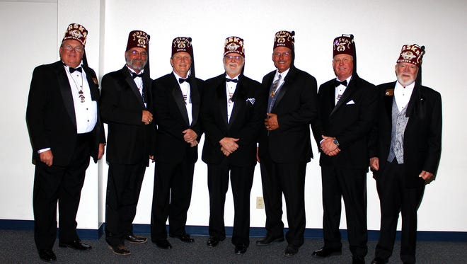 """The Maskat Shrine recently installed officers for 2018. The officers include, from left to right, Mark Reed, treasurer; Kenny Lemons, High Priest and Prophet; Bing Miller, Assistant Rabban; Calvin Carlton, Potentate; Steve Harris, Chief Rabban; Glen """"Dooby"""" Fox, Oriental Guide; and John Tunnell, Recorder."""