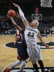 Michigan State's Aerial Powers blocks a shot against