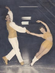 Alice Domogalla and her skating partner Phil Schwartz in 1946 at Salem Ice Arena. They were members of the Salem Figure Skating Club.