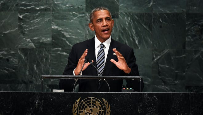 President Obama addresses the 71st session of United Nations General Assembly at the UN headquarters in New York on Tuesday.