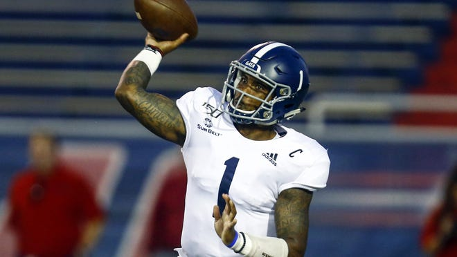 Georgia Southern quarterback Shai Werts throws a pass during a game against South Alabama on Oct. 3, 2019, in Mobile, Ala.