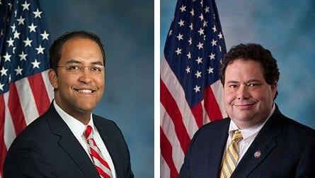 Congressmen Will Hurd, left, and Blake Farenthold