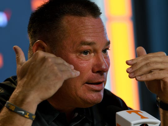 Tennessee football coach Butch Jones during his pre-training press conference Friday, Jul. 28, 2017.