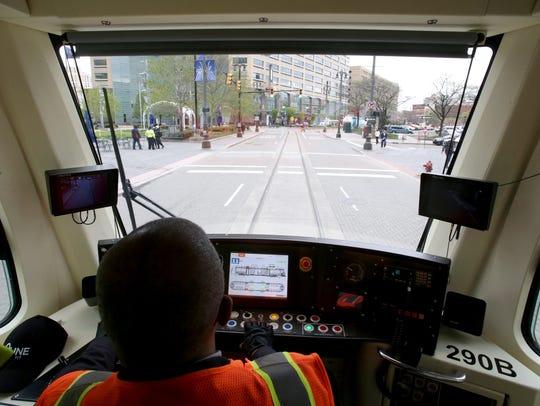 QLine street car operator Nate Baker drives around