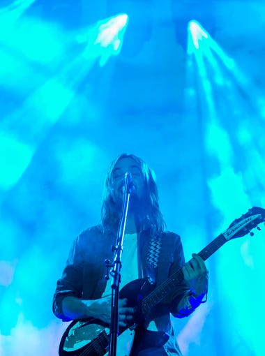 Gavin Parker performs with Tame Impala on the Backyard Stage at the Firefly Music Festival in Dover on Friday night.