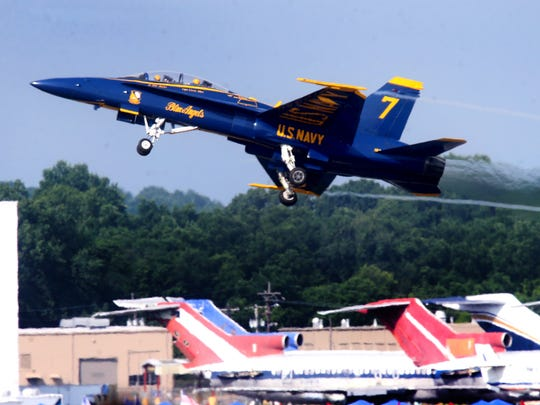 The Blue Angels No. 7 was one of the last jets to leave