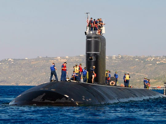 This file photo shows the USS Alexandria nuclear submarine arriving for a port visit.
