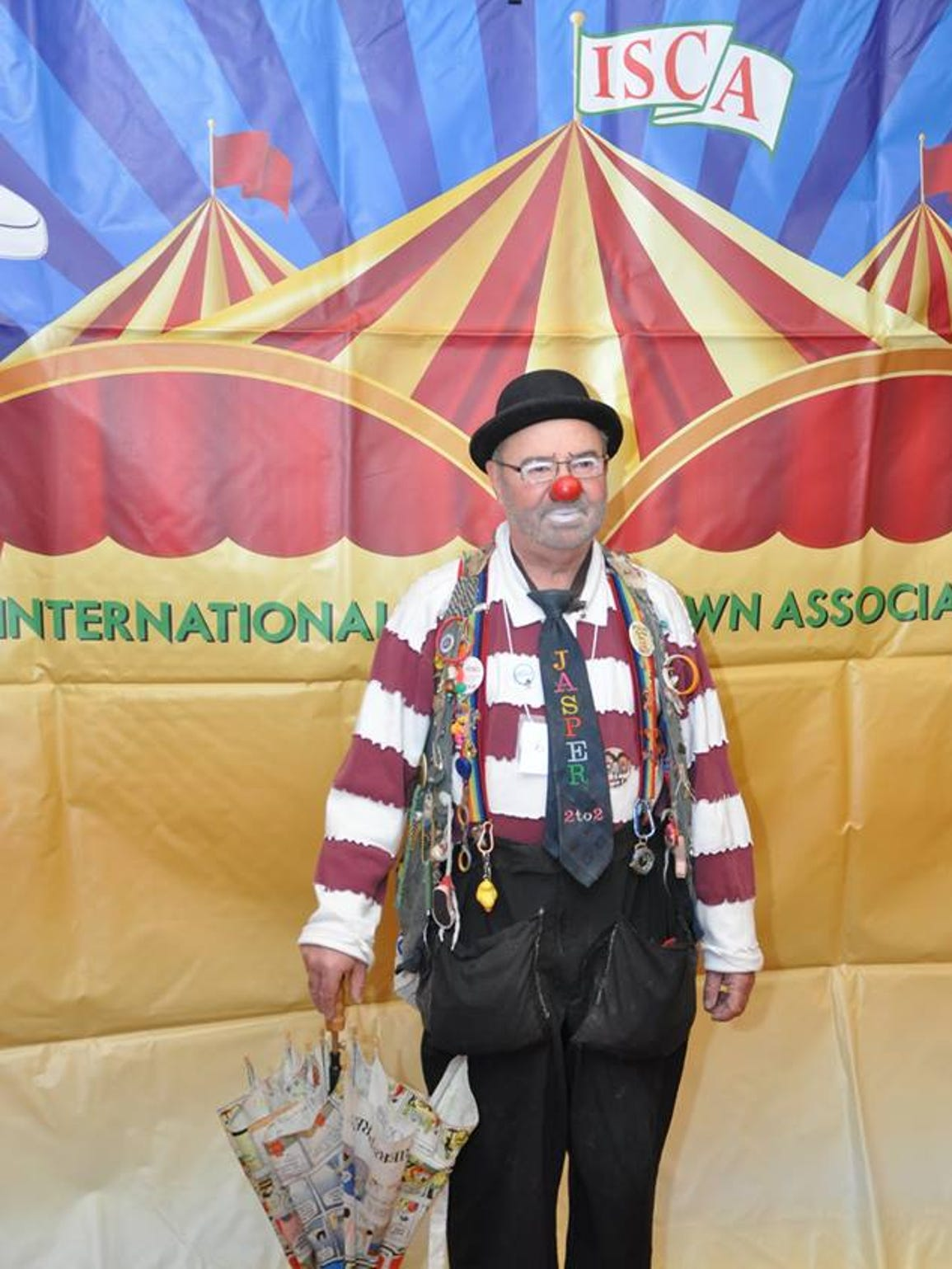 """Van """"Jasper"""" Haas was named the 2017 International Shrine Clown Association Clown of the Year in February. Twenty-seven years ago, Haas attended a Funsters meeting to learn more about becoming a clown. He was voted in that night, and Jasper was born."""