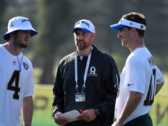 Jan 28, 2016; Kahuku, HI, USA; Oakland Raiders quarterback Derek Carr (4), Kansas City Chiefs offensive coordinator Matt Nagy (C) and New York Giants quarterback Eli Manning (10) talk during Team Rice practice for the 2016 Pro Bowl at the Turtle Bay Resort. Mandatory Credit: Kirby Lee-USA TODAY Sports