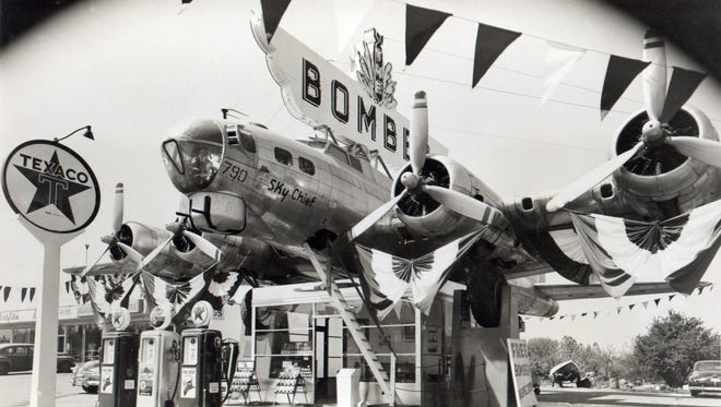 This B-17 Flying Fortress, used as a canopy for a gas station on SE McLoughlin Boulevard in Milwaukie for nearly 64 years, will be restored in a hangar at Salem Municipal Airport.