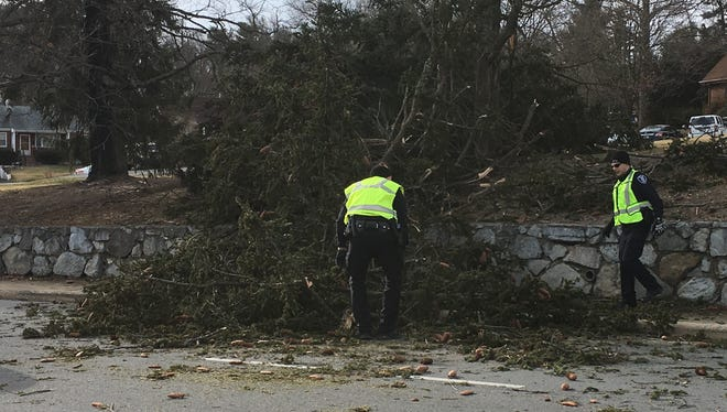 Staunton police officers help with the removal of a tree that fell Tuesday afternoon on North Coalter Street.