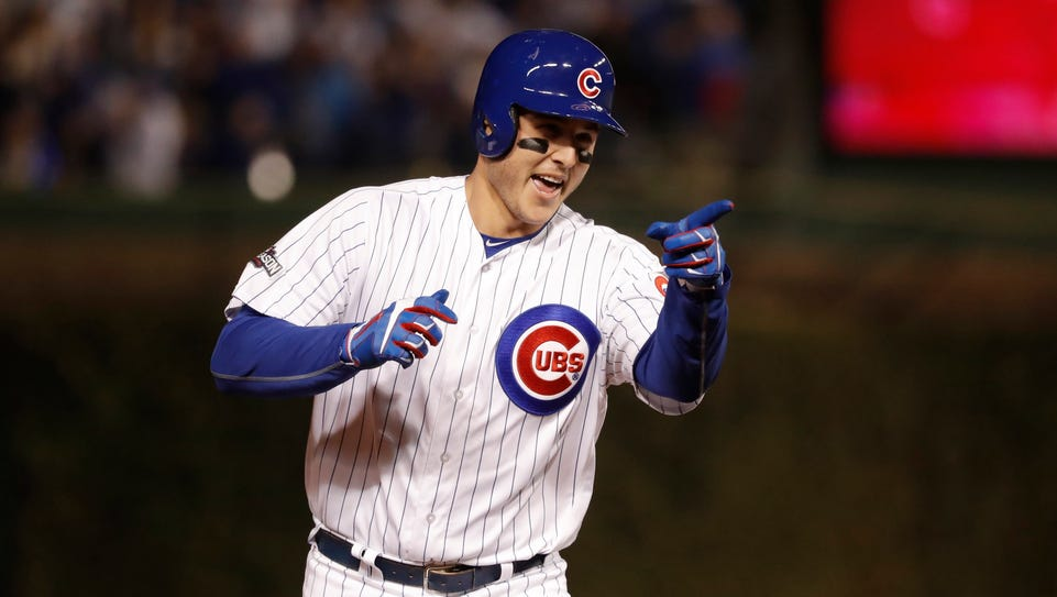 Anthony Rizzo hits a solo home run in the fifth inning.