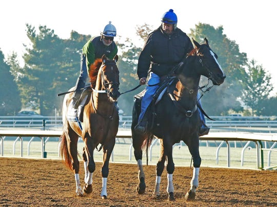 Holy Boss, accompanied by trainer Steve Asmussen, worked five-eighths in 59 4/5 for the Breeders' Cup Sprint.